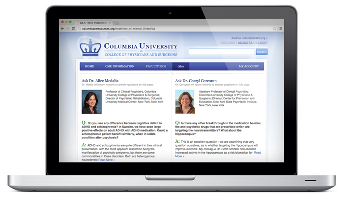 Columbia University Learning Communities Computer Screen